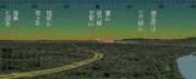 「カシミール3D」(DAN杉本さん)と国土地理院の数値地図を使って作成した、2001年9月23日、豊橋市役所13階展望ロビーからの日没の様子です。