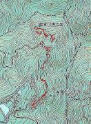 GPSで捉えた軌跡と源流部の位置 国土地理院25,000地形図とカシミール3Dから作成 衛星の捕捉状況が良好ではありませんでした。