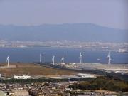 蔵王山富士見デッキからの臨海風車群