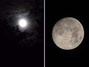 当日の月(左)と前日の月(右)