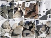 川原の礫を色や模様で分類