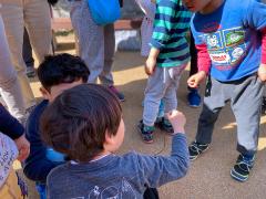 ハリガネムシを観察する子どもたち